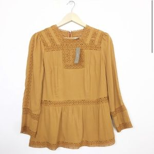 J. Crew NWT   Point Sur Lacey Mustard Top Size 12
